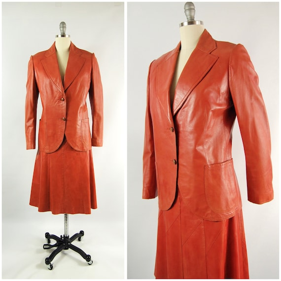 70s Leather Jacket and Skirt Set / 30 Waist / Hors