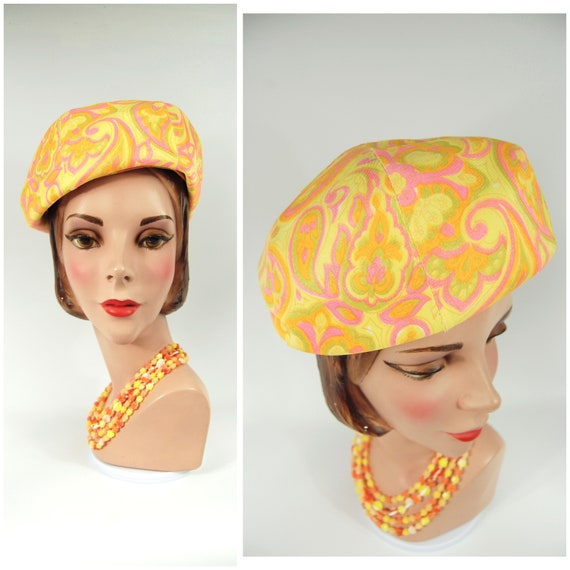 60s Paisley Beret Hat / Voguemont Chicago New York