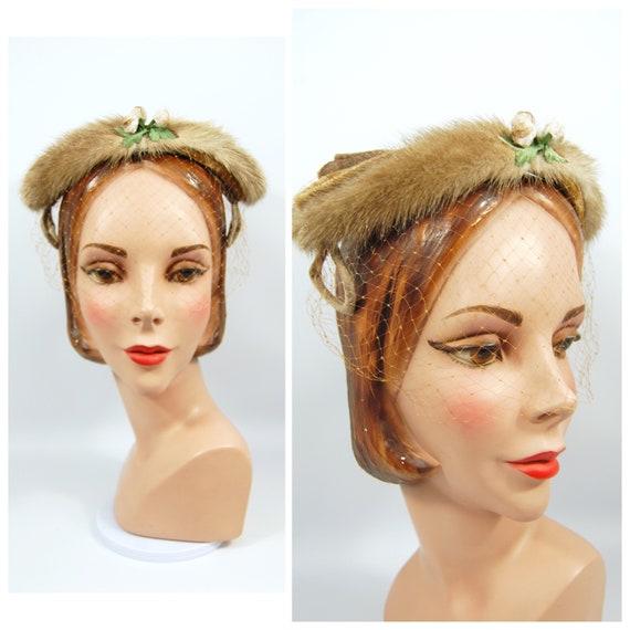 1950s Light Brown Mink Hat - Winter hat - Mink Vei