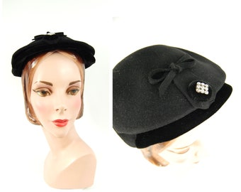 1950s Black Evening Hat - Linda Jane Exclusive - Flat Crown Face Framing Hat Small Brimmed Mid 1950s Glamorous Hat Formal