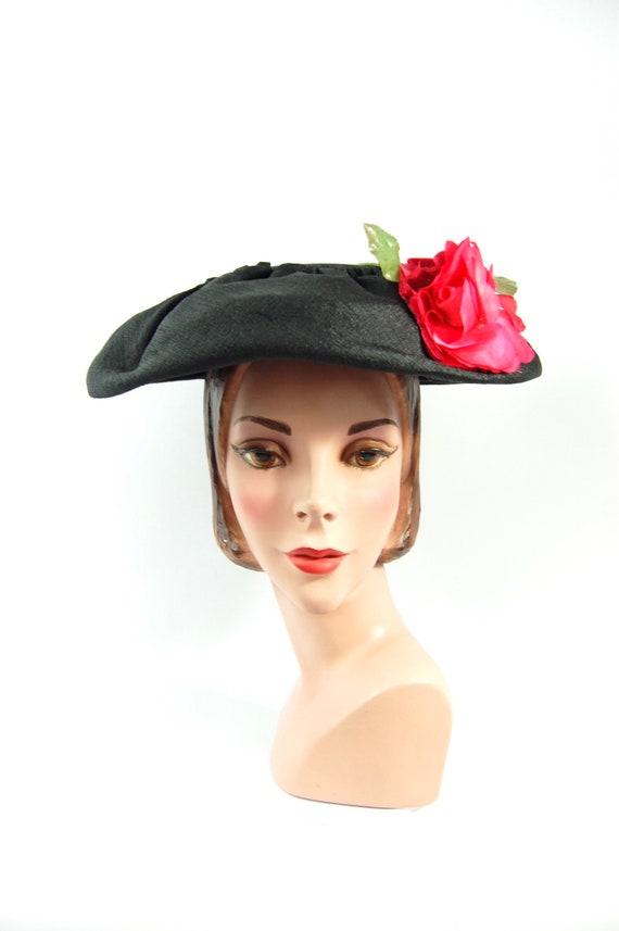 50s 60s Wide Brimmed Saucer Hat - Black Picture Ha