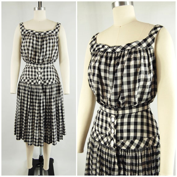 40s 50s Checkered Gingham Skirt and Top Set / 23 … - image 1