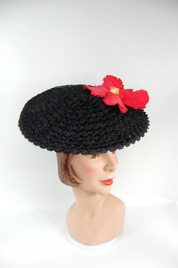 1950s Saucer Hat - Black Straw Platter Hat - Jaunt