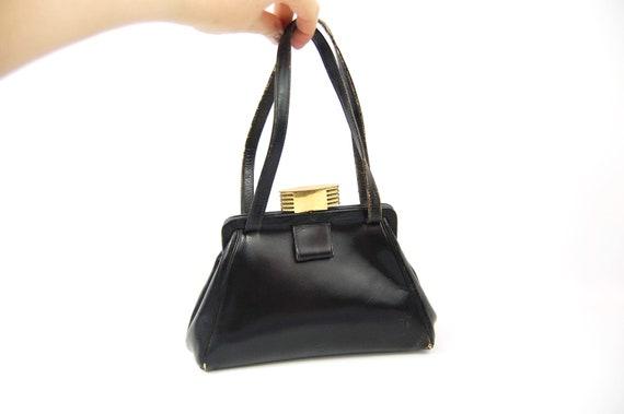 1940s Black Leather Handbag / 40s Art DecoPurse Sm