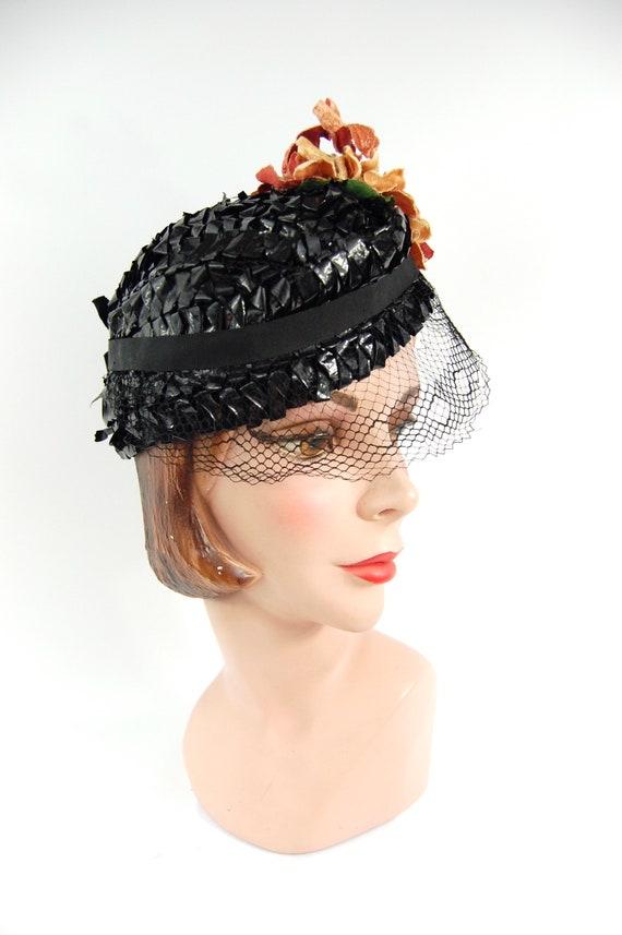 1930s Spring Summer Hat / Black 30s Straw Celloph… - image 6
