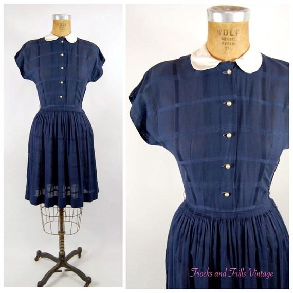 40s 50s Navy Cotton Shirtwaist Dress / 25 waist /