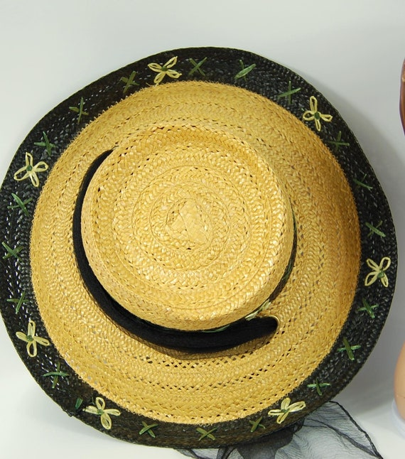 1950s Kitschy Straw Sun Hat / Wide Brimmed Natura… - image 6