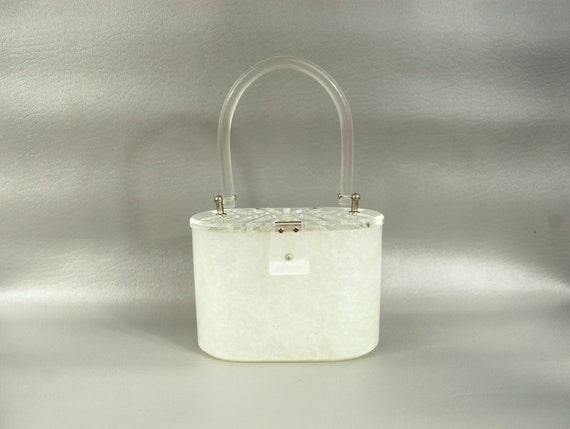 1950s Pearly White and Clear Lucite Handbag - Peti