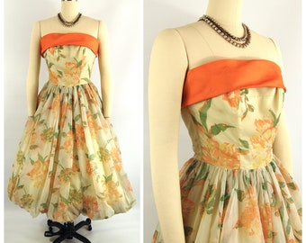 50s 60s Floral Strapless Party Dress / 25 waist / Orange early 1960s Floral Bouffant Skirt Tea Length Spring Formal Fit and Flare
