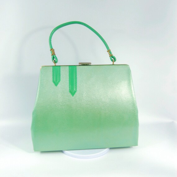 Early 1960s Mint Green Handbag - Mint Green Satin
