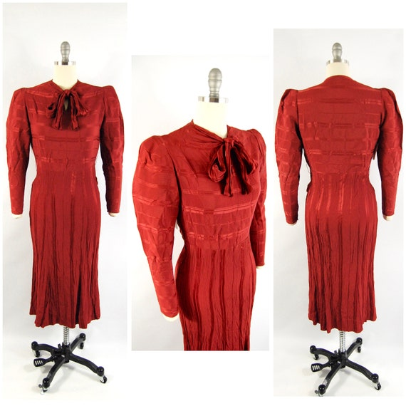 30s Bias Cut Dress / 36 Bust and Hips / Rust Red S