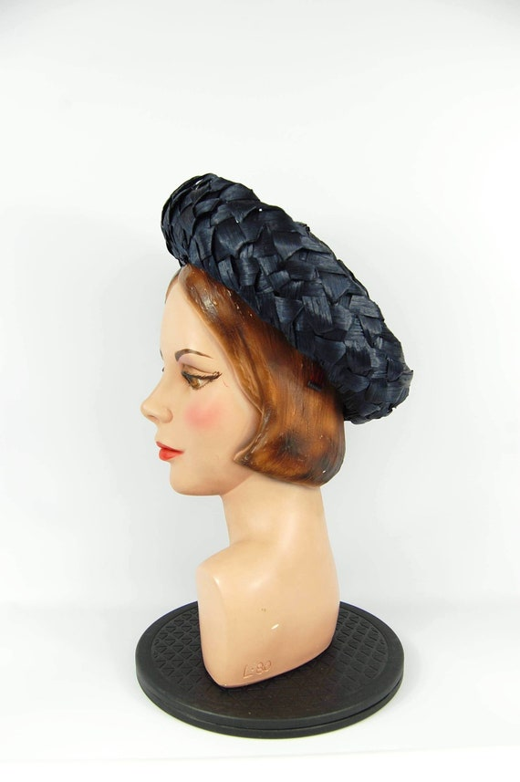 Early 60s Navy Blue Hat Cellophane Straw hat Mid … - image 9