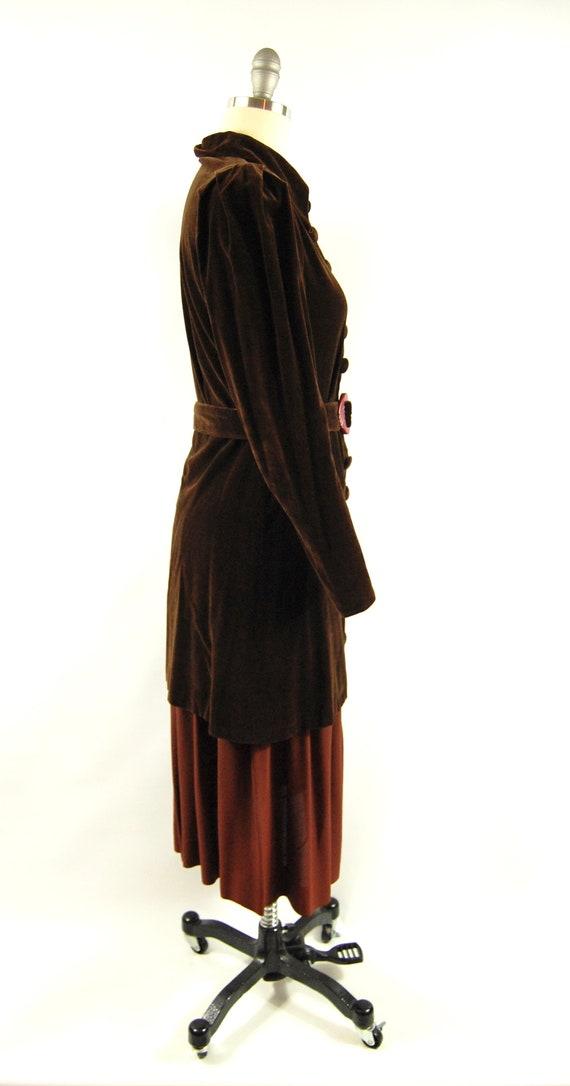 30s Brown Cotton Velvet Crepe Dress / 28 - 29 Wai… - image 7