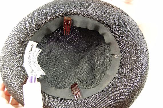 1960s Wide Brimmed Hat / Black Straw Upturned Bri… - image 7