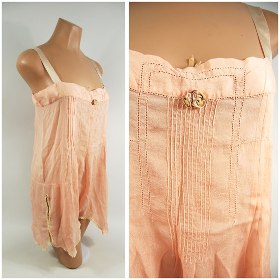 1920s Silk Step In Slip / 36 Bust / Tearose Pink S