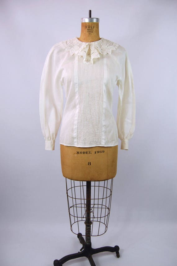 30s White Cotton Blouse // 34 Bust // 40s Ruffled… - image 3