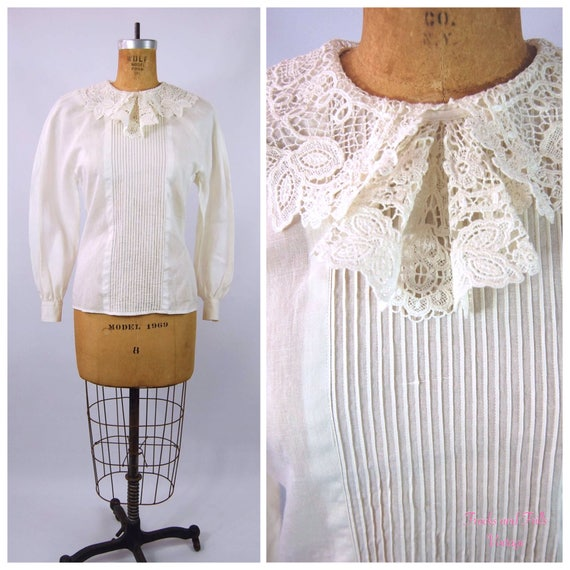 30s White Cotton Blouse // 34 Bust // 40s Ruffled