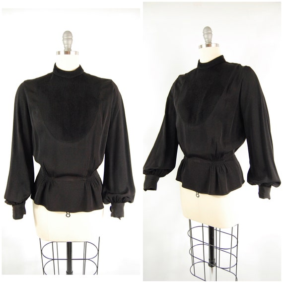 30s 40s Rayon Blouse / 38 Bust / Del-mar Balloon S