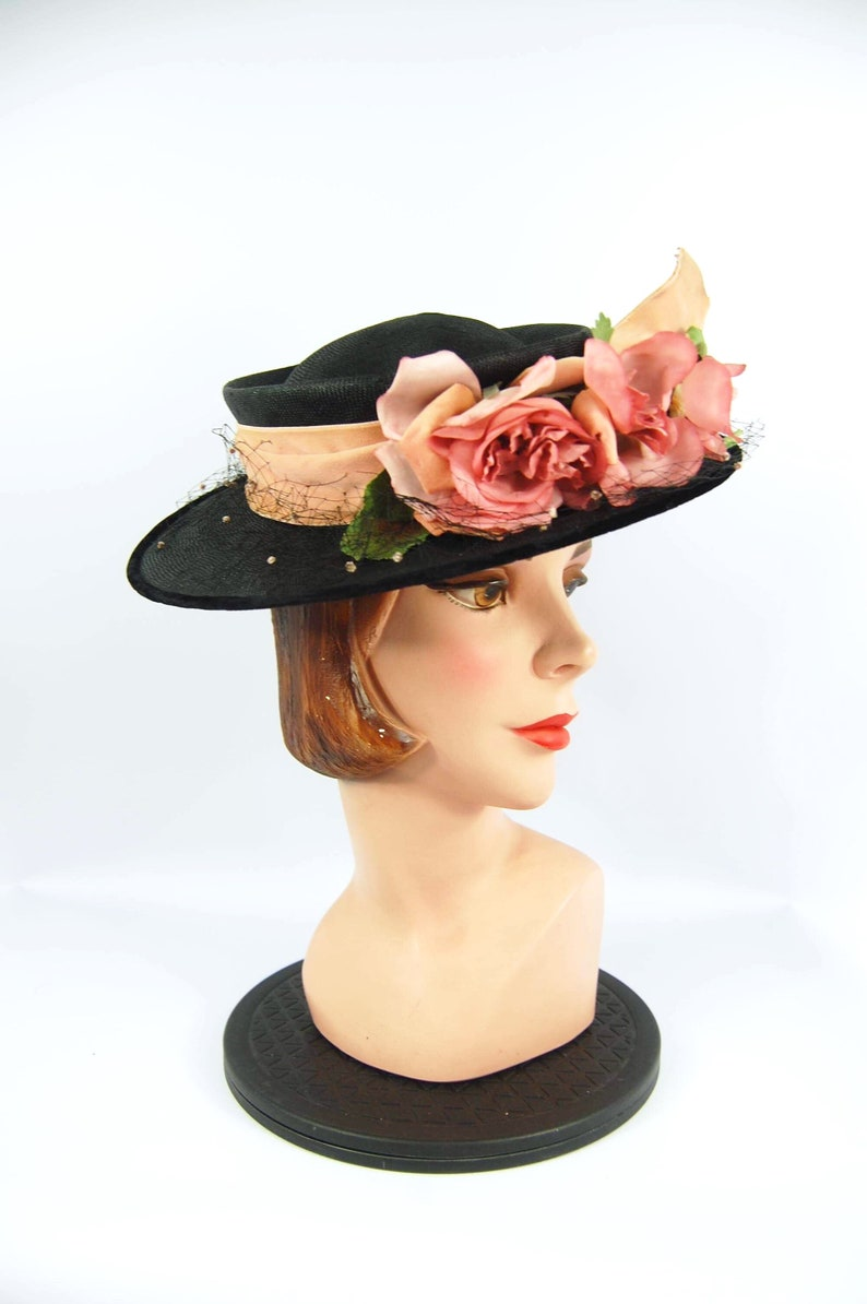 74b1352d4 Late 40s Black Straw Hat with Pink Roses / Flowers black Straw 50s Bonnet  Church Hat Tea Party A New York Creation Picture Hat