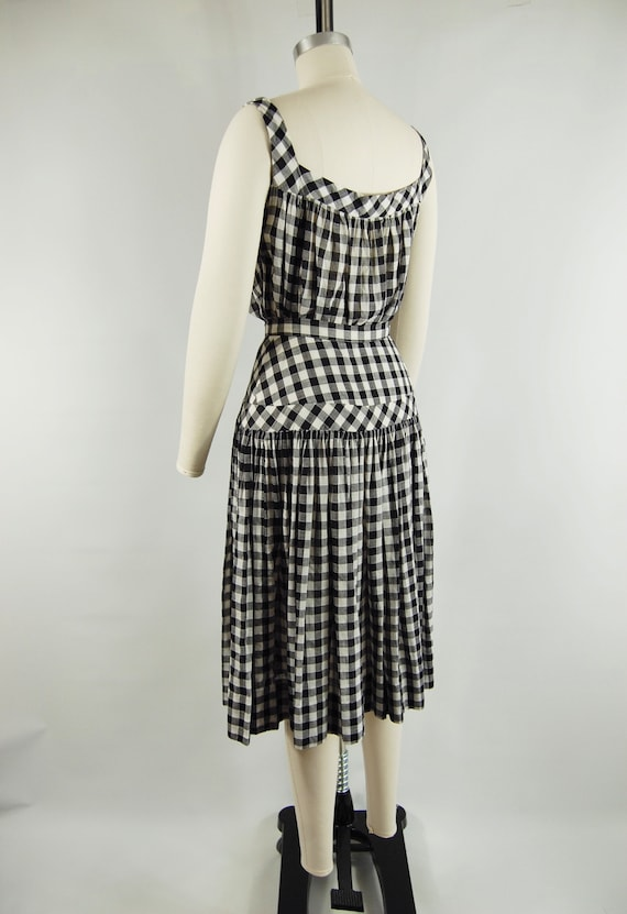 40s 50s Checkered Gingham Skirt and Top Set / 23 … - image 6