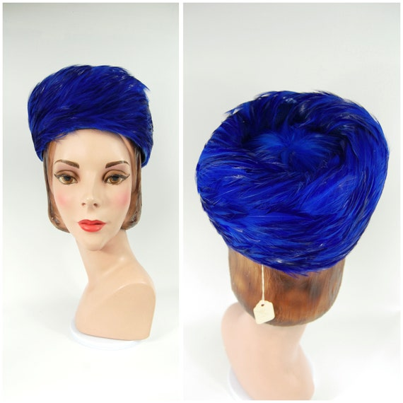 60s Electric Blue Feathered Pillbox Hat / Jackie O