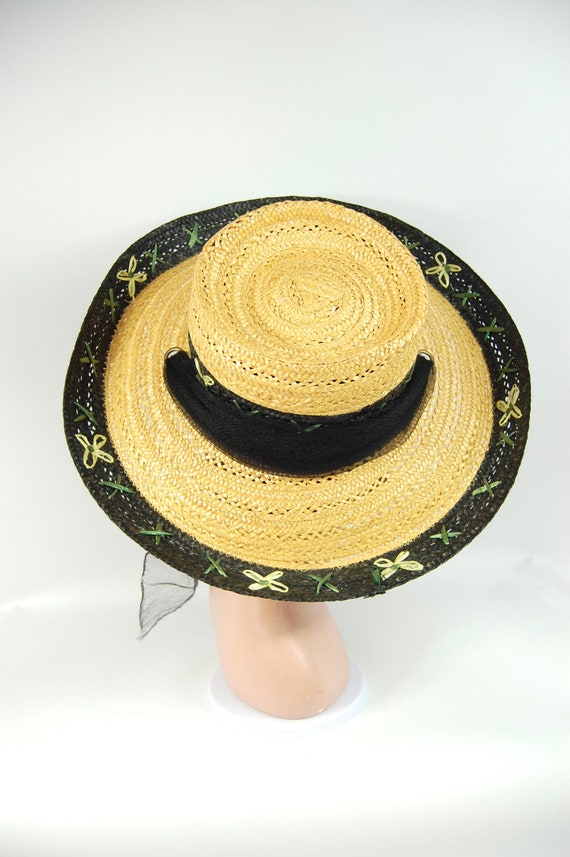 1950s Kitschy Straw Sun Hat / Wide Brimmed Natura… - image 3