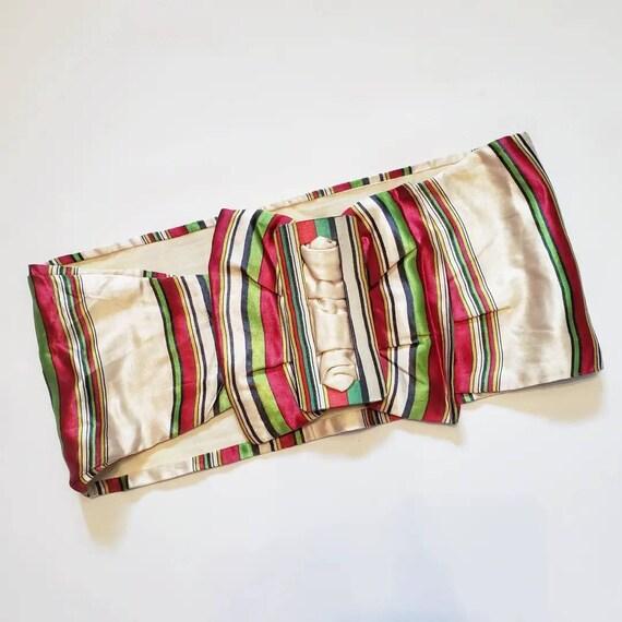 Late 1930s striped Silk Belt / 27 - 29 waist / 30… - image 1