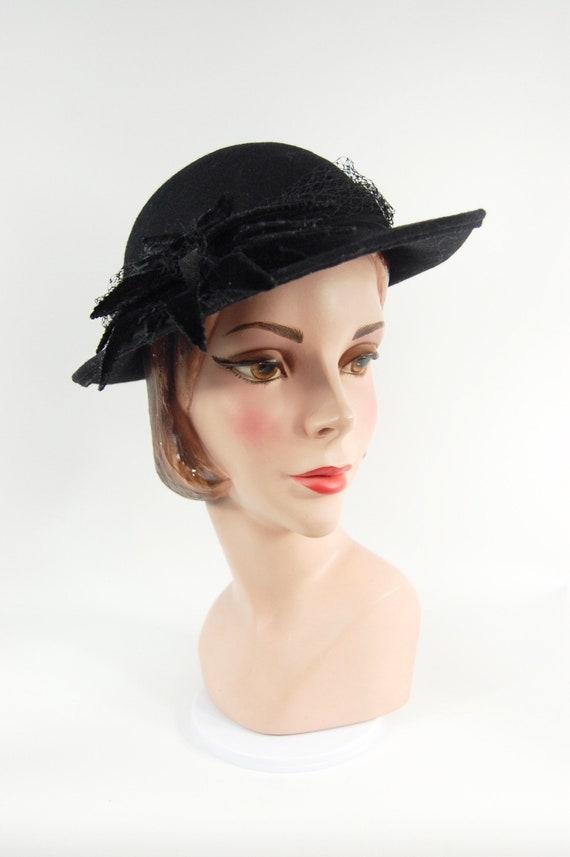 40s Style Black Ladies Fedora / 80s does 40s Black