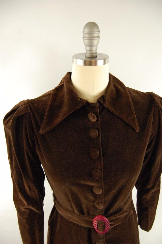 30s Brown Cotton Velvet Crepe Dress / 28 - 29 Wai… - image 2