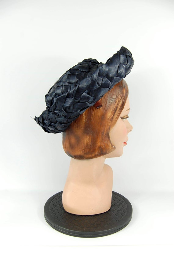 Early 60s Navy Blue Hat Cellophane Straw hat Mid … - image 4