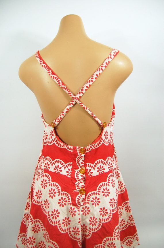 40s Red White Patterned Cotton Playsuit / / 40s B… - image 6