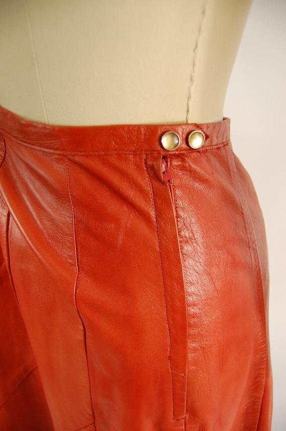 70s Orange Leather Suit / 30 Waist / Horst Burnt … - image 8