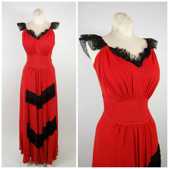 40s Fringe Trimmed Crepe Gown // 28 Waist // Red R