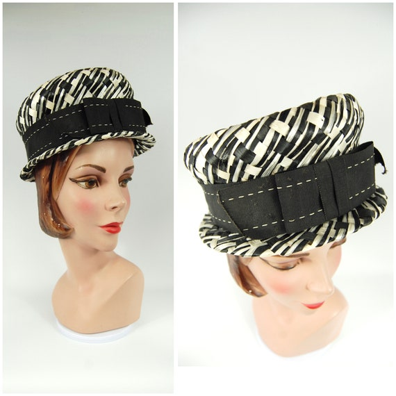 60s Straw Cap with Small Brim - Straw High Crown P
