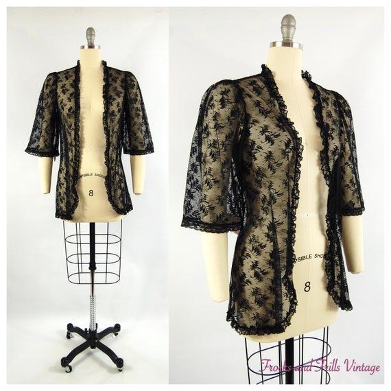 Black Lace Jacket by Val Mode / Small / Bed Jacket