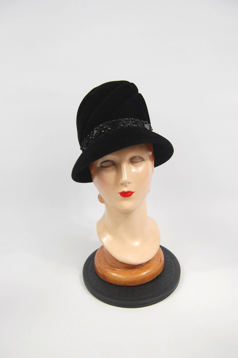 ec0f627ddb7fc 60s Black Felt Hat High Crown Late 60s Made in Italy