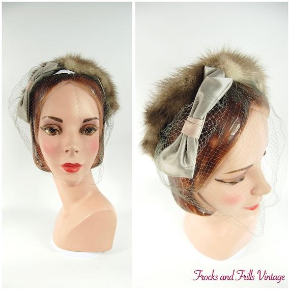 50s 60s Taupe Mink Headband Hat / Late 50s Half Ha