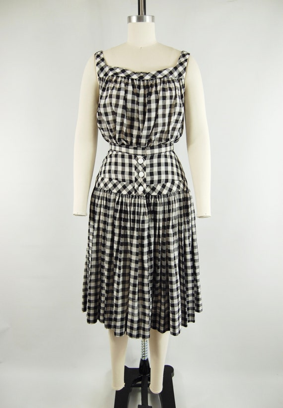 40s 50s Checkered Gingham Skirt and Top Set / 23 … - image 3