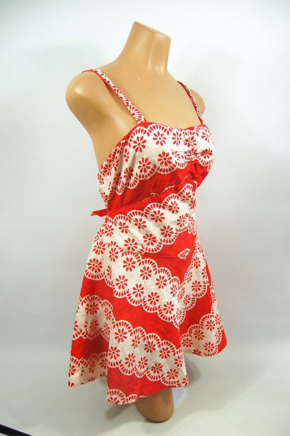 40s Red White Patterned Cotton Playsuit / / 40s B… - image 3