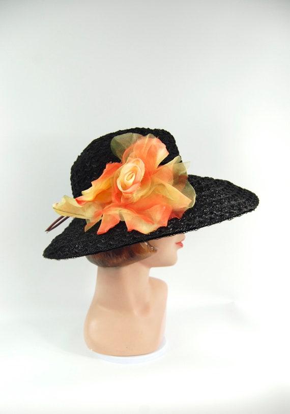 50s 60s Black Straw Wide Brimmed Hat / Black Summ… - image 1