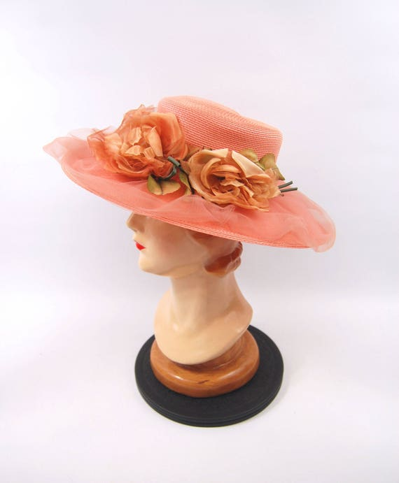 Wide Brimmed Pink Straw Hat - 70s Floral Peach Pin