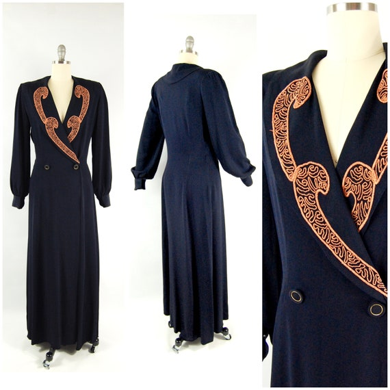 Early 40s Blue Rayon Dressing Gown / 28 waist / So
