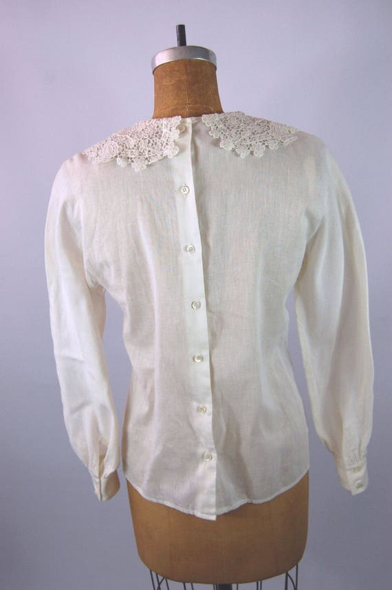 30s White Cotton Blouse // 34 Bust // 40s Ruffled… - image 5