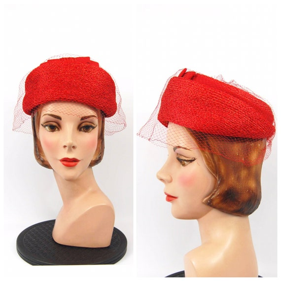 60s Red Straw Hat - Red Dome Pillbox Hat Graduated
