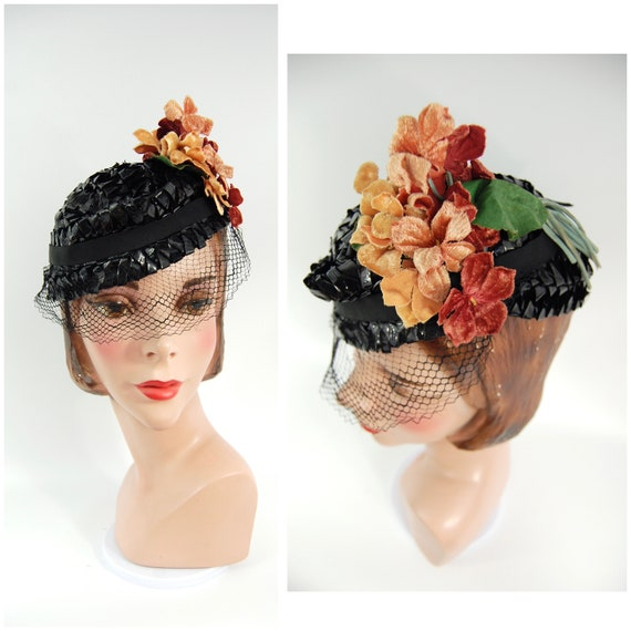 1930s Spring Summer Hat / Black 30s Straw Cellopha