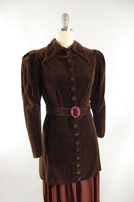 30s Brown Cotton Velvet Crepe Dress / 28 - 29 Wai… - image 3