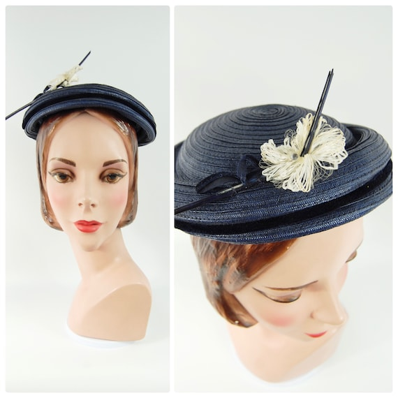 50s Small Brimmed navy Blue Straw Hat / Spring Su… - image 1