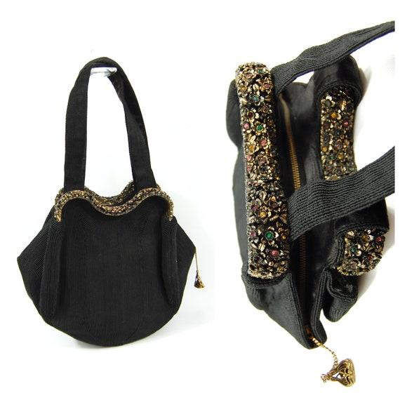 1940s Black Jewel Encrusted Handbag / Colorful Rhi