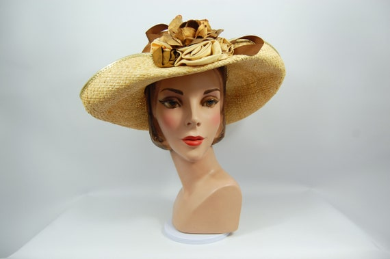 1980s Straw Tea Party Hat - Whittall and Shon Natu