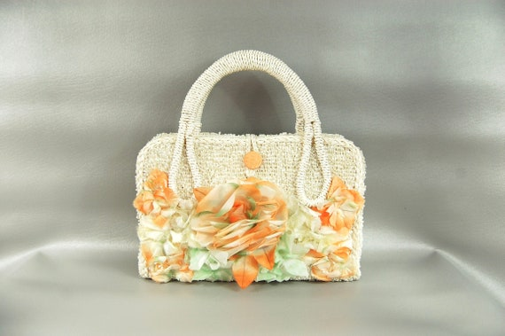 50s 60s White Straw Floral Handbag - Orange white